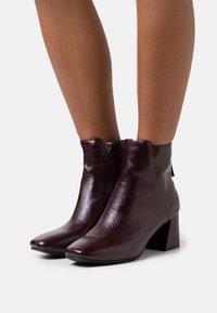 Miss Selfridge - BRICKS SQUARE TOE FLARED BLOCK HEEL BOOT - Classic ankle boots - burg lizard - 0