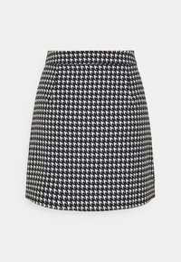 Missguided - SLIT FRONT DOGTOOTH SKIRT - Miniskjørt - black - 1