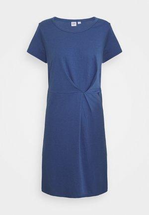 PLEAT WAIST - Day dress - chrome blue