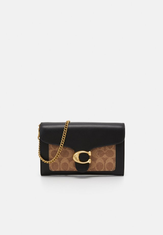 COLORBLOCK COATED SIGNATURE TABBY CHAIN CLUTCH - Pochette - tan black