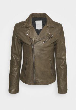 VICK BIKER - Leather jacket - shocked olive