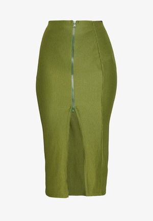 ZIP MIDI SKIRT - Gonna a tubino - khaki