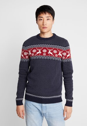 SLHDEER NEW CREW NECK  - Jumper - maritime blue/white mel/red dahlia