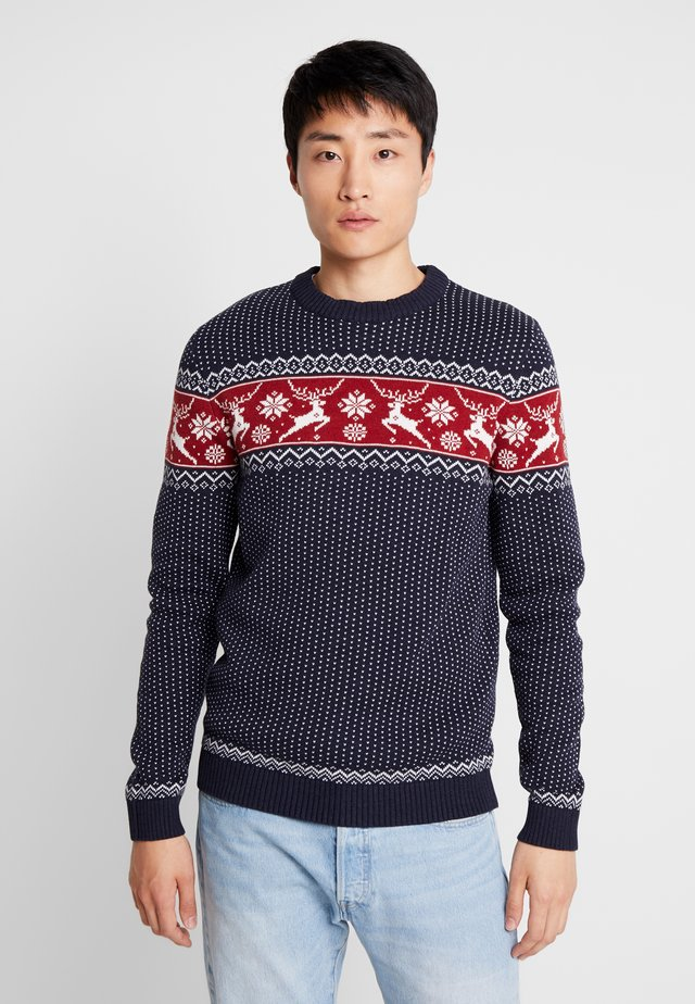 SLHDEER NEW CREW NECK  - Neule - maritime blue/white mel/red dahlia