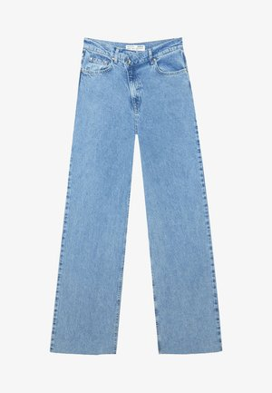 MIT ASYMMETRISCHEM BUND  - Jeansy Straight Leg - blue