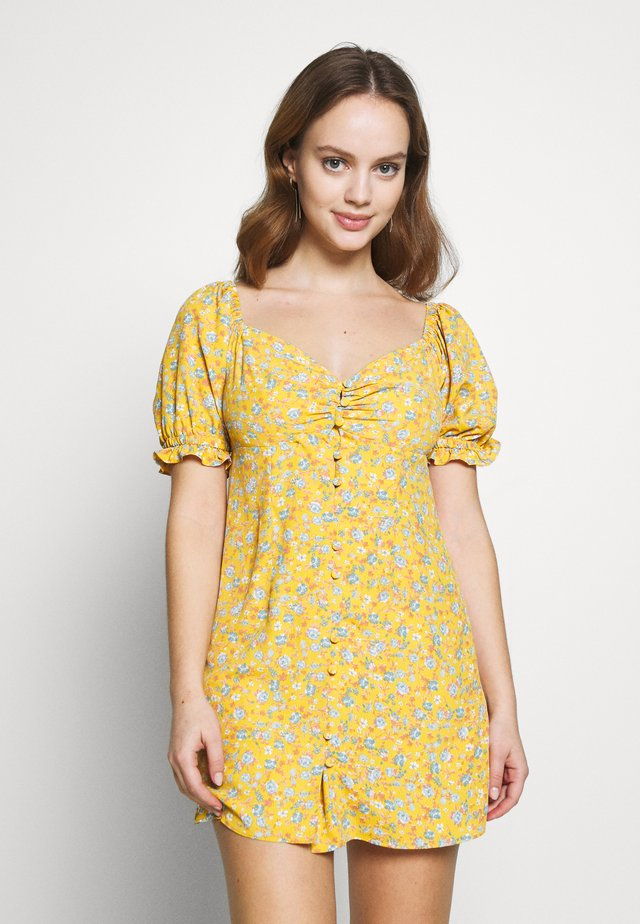 BUTTON MILKMAID TEA DRESS - Korte jurk - ochre