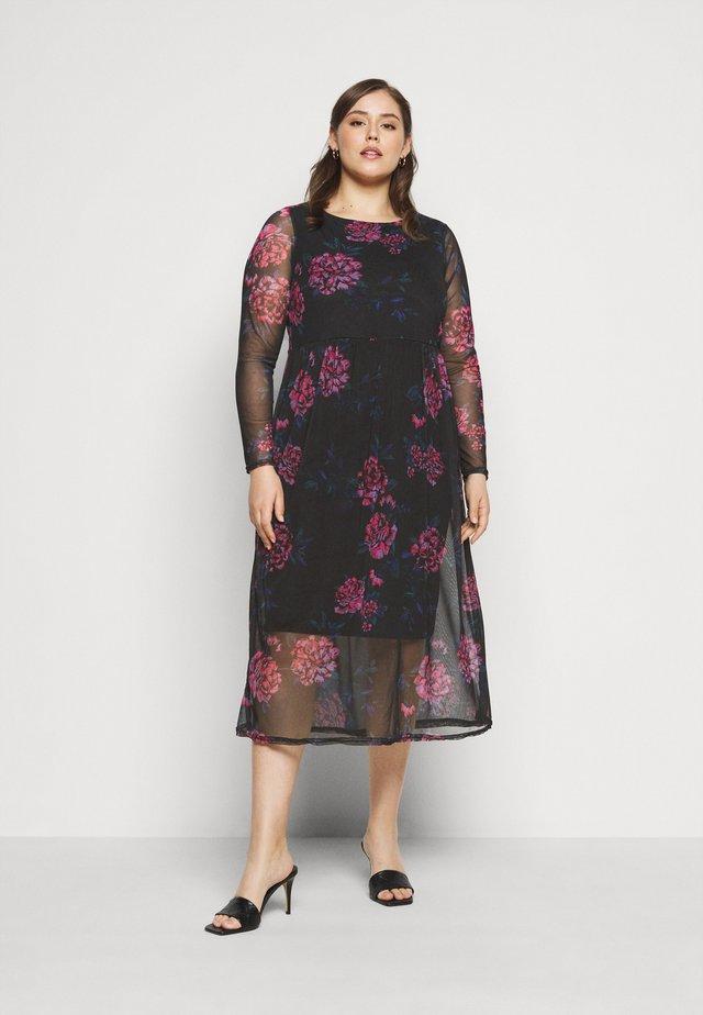 FLORAL TIERED DRESS - Denní šaty - black