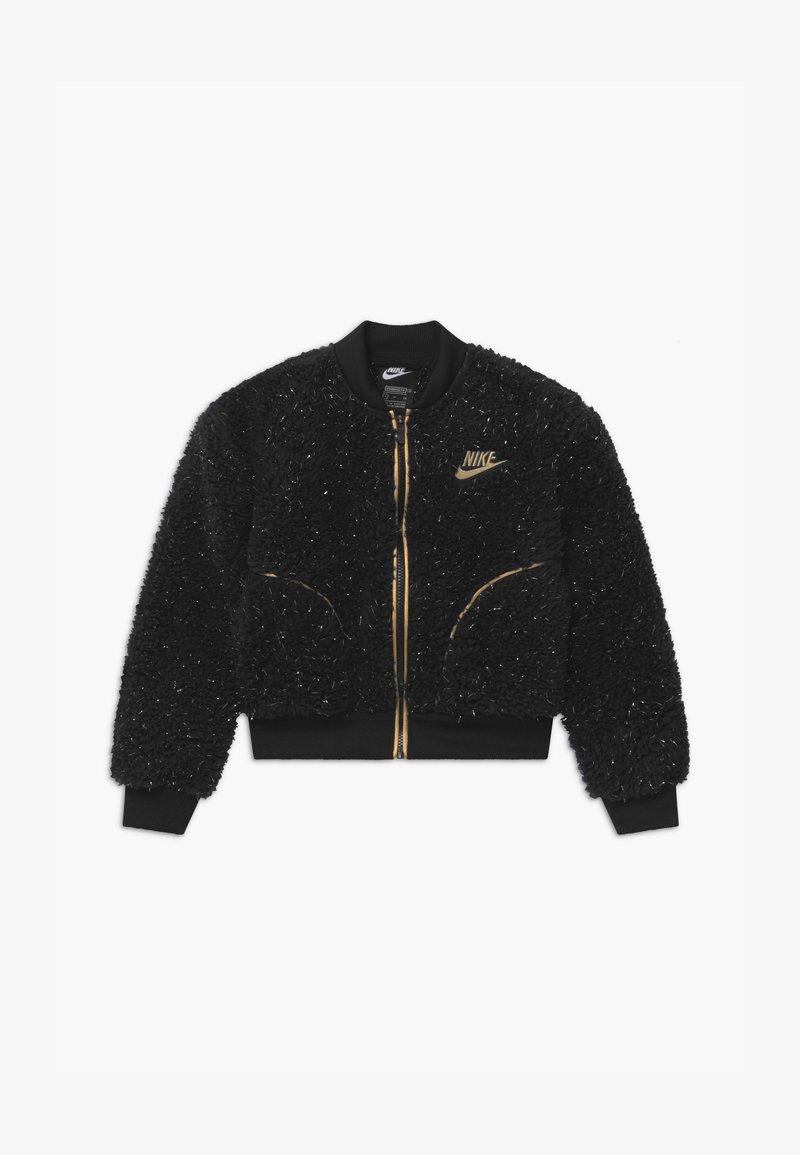 Nike Sportswear - SHERPA SHINE - Bomber Jacket - black/gold