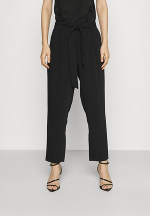 SADIE TIE WAIST SLIM PANTS - Trousers - black