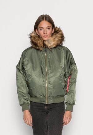 HOODED - Winter jacket - sage green