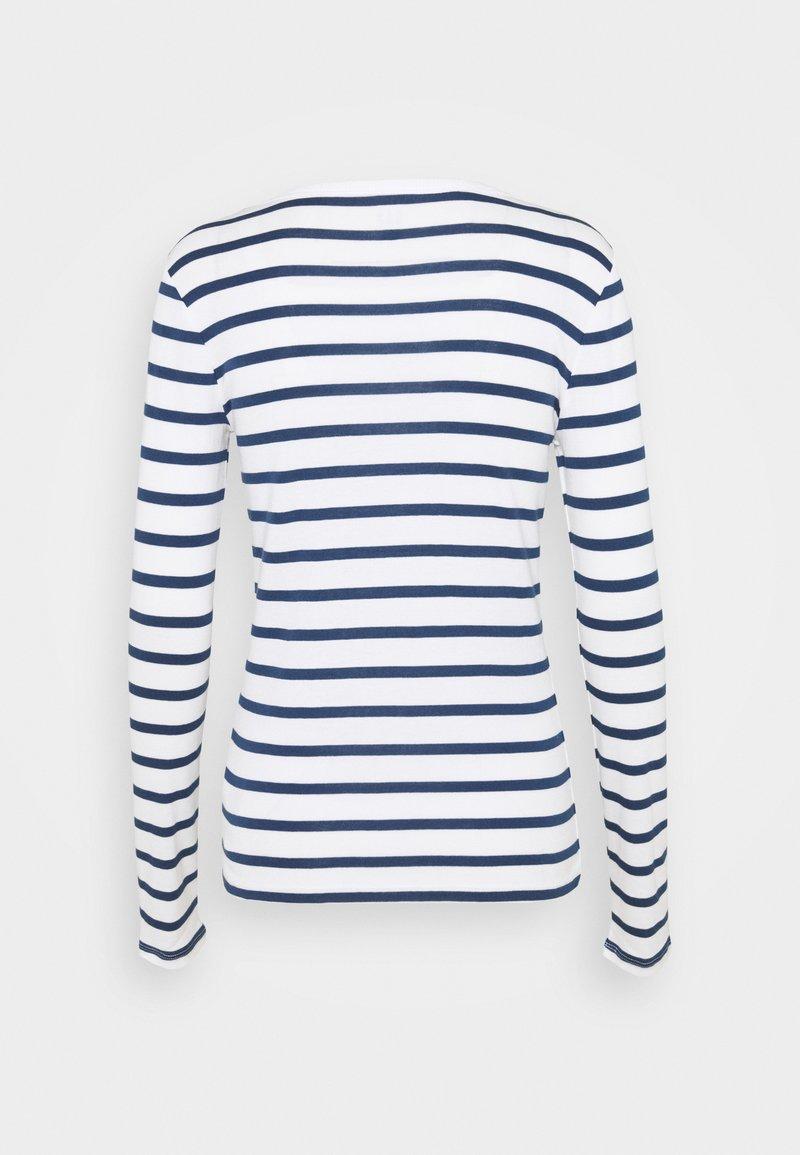 GAP FAV HENLEY - Langarmshirt - white/navy/dunkelblau 4V0b9G