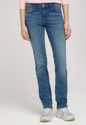Straight leg jeans - mid stone wash denim