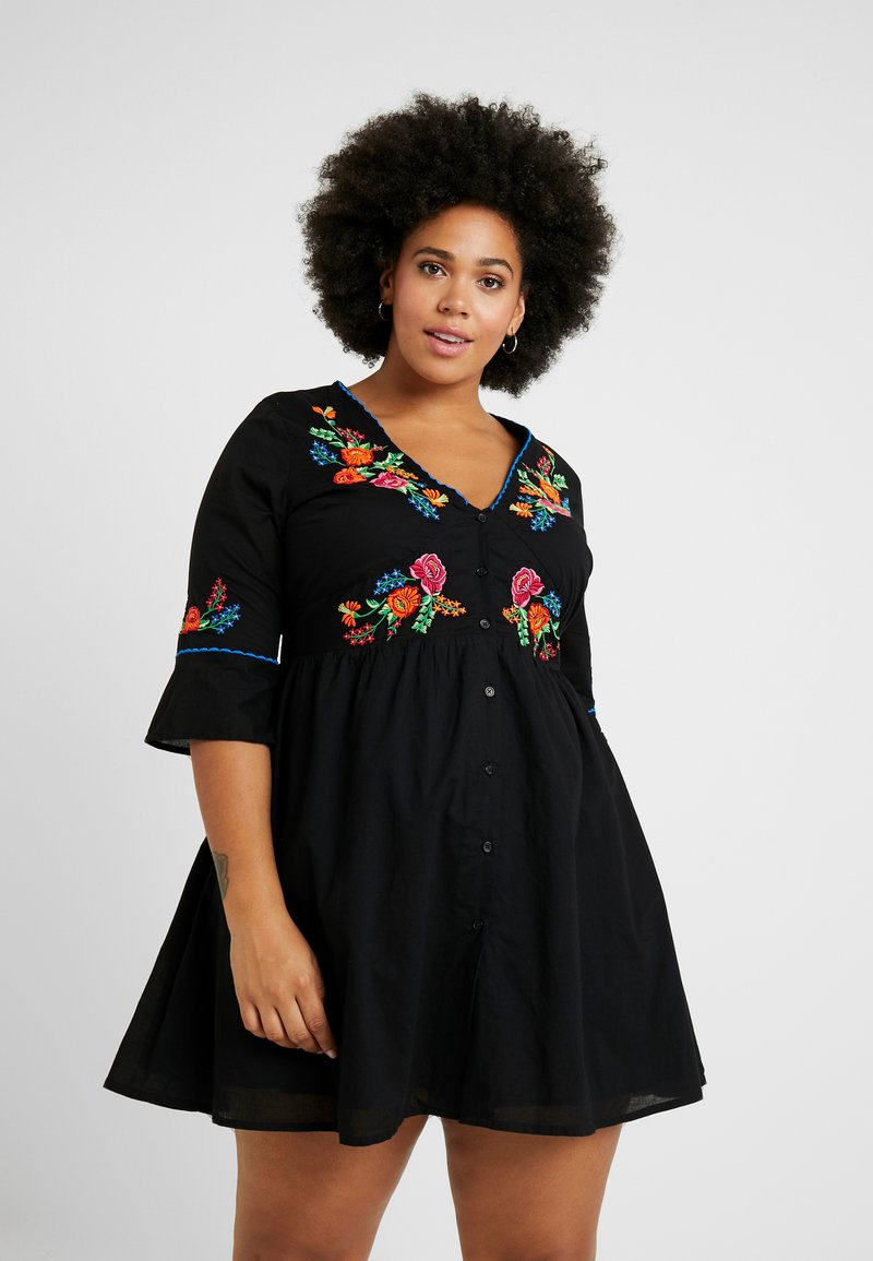 Simply Be - EMBROIDERED V NECK DRESS - Day dress - black