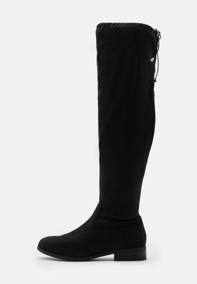 WIDE FIT BALSAM - Kozačky nad kolena - black