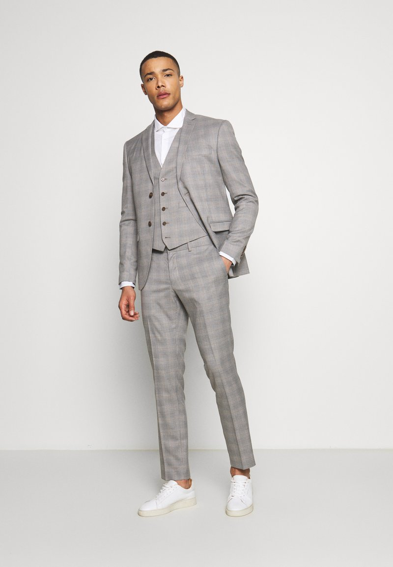 Isaac Dewhirst - CHECK 3 PIECES SUIT - Completo - grey