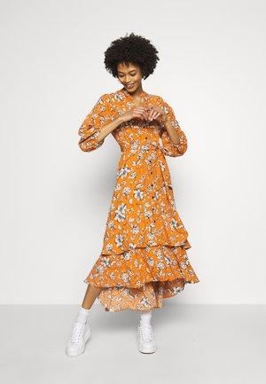 FLORAL TIERED HEM DRESS - Day dress - mustard