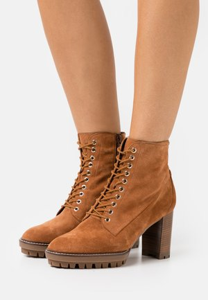 Lace-up ankle boots - nut