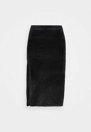 MIDI SKIRT WITH FRONT SIDE SPLIT - Blyantskjørt - black