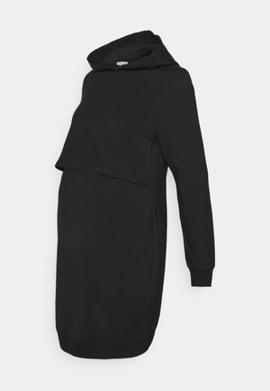 NURSING HOODIE DRESS - Žerzejové šaty - black