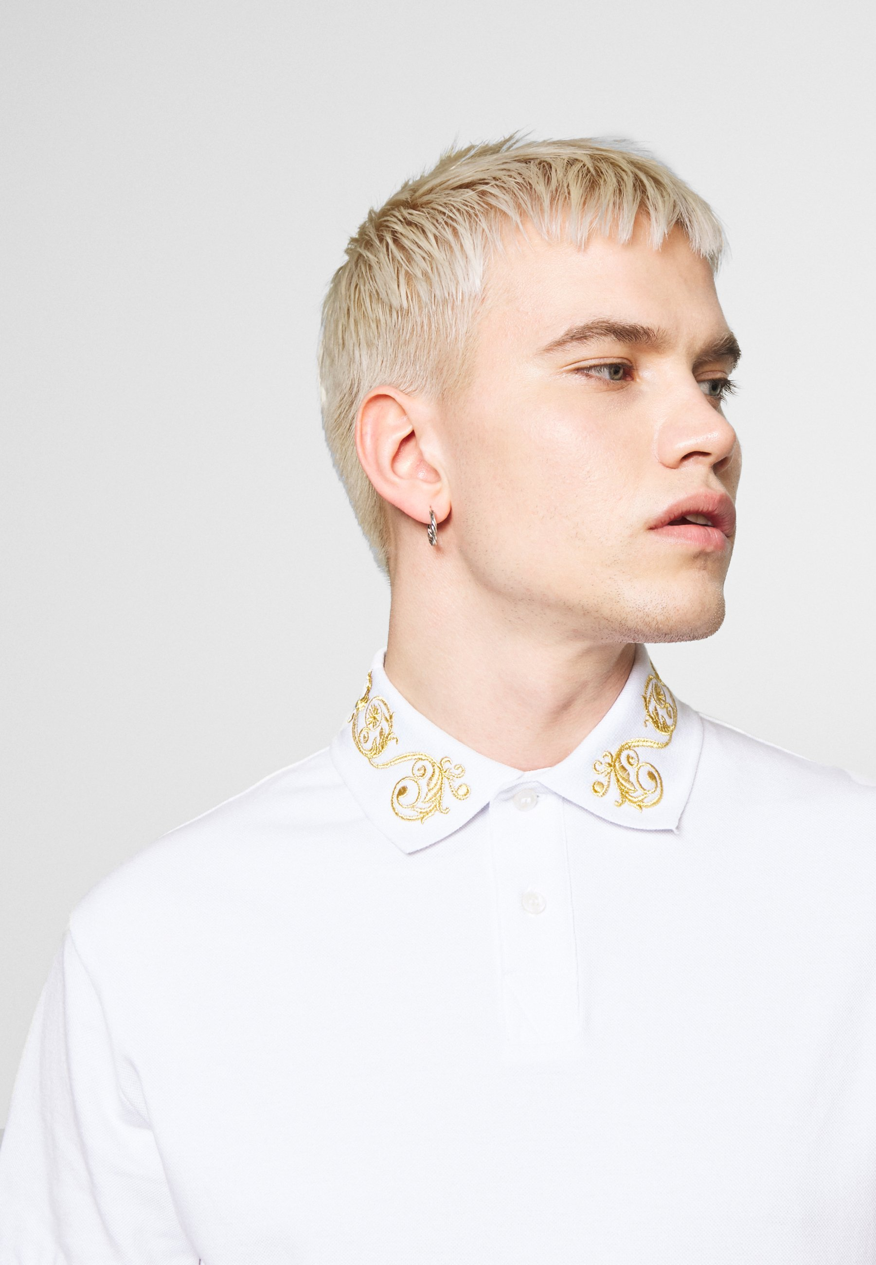 Versace Jeans Couture BAROQUE COLLAR GOLD - Polo - white