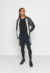 adidas Performance - 3 STRIPES FLEECE FULL ZIP ESSENTIALS SPORTS TRACK JACKET HOODIE - Zip-up sweatshirt - dark grey heather - 1