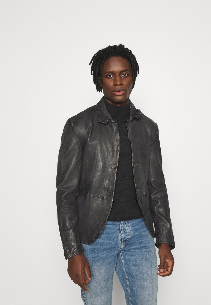 Be Edgy - LOGAN - Leather jacket - anthra