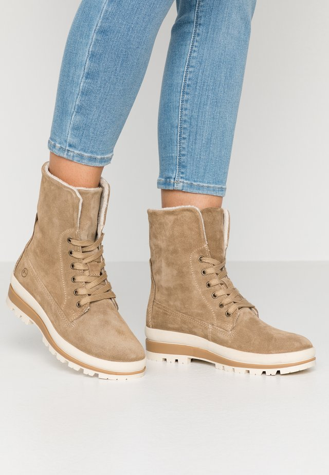 Bottines à lacets - taupe