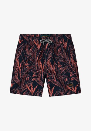 SCRATCHED LEAVES - Swimming shorts - neon orange