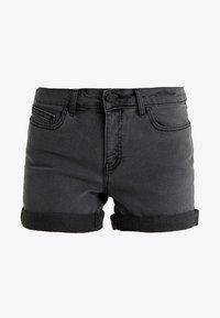 NMBE LUCY FOLD - Denim shorts - dark grey denim