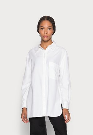 BLOUSE LONG SLEEVE KENT COLLAR BOYFRIEND FIT PATCHED POCKET - Blouse - white