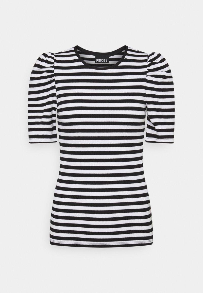 Pieces - PCANNA - Print T-shirt - brigth white/black