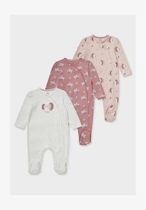 3ER-PACK - Sleep suit - white / rose