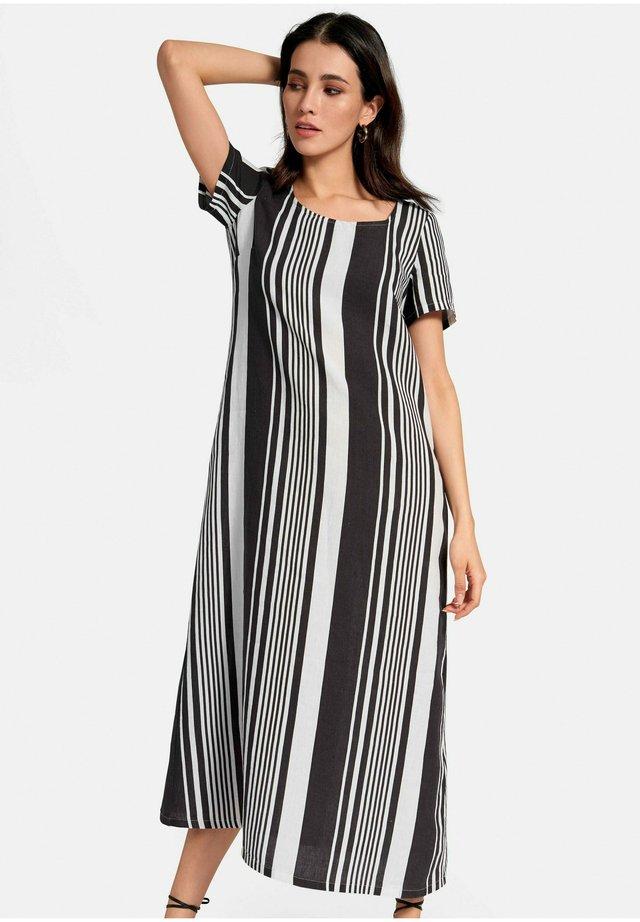 LEINENKLEID HALBARM - Maxi-jurk - schwarz/weiß
