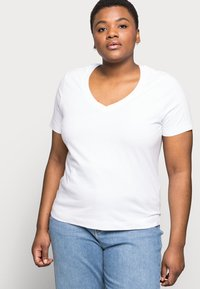 Selected Femme Curve - SLFANDARD NECK TEE - Jednoduché triko - bright white - 3