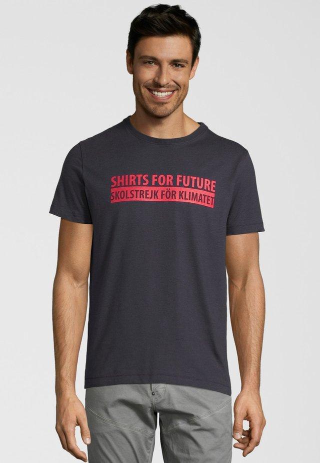 Print T-shirt - navy/red