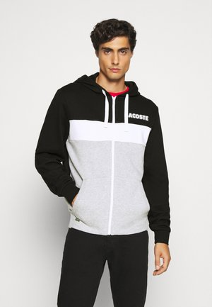 veste en sweat zippée - noir/argent/blanc
