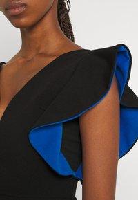 WAL G. - V NECK RUFFLE SLEEVE MIDI DRESS - Cocktail dress / Party dress - black/royal blue - 5
