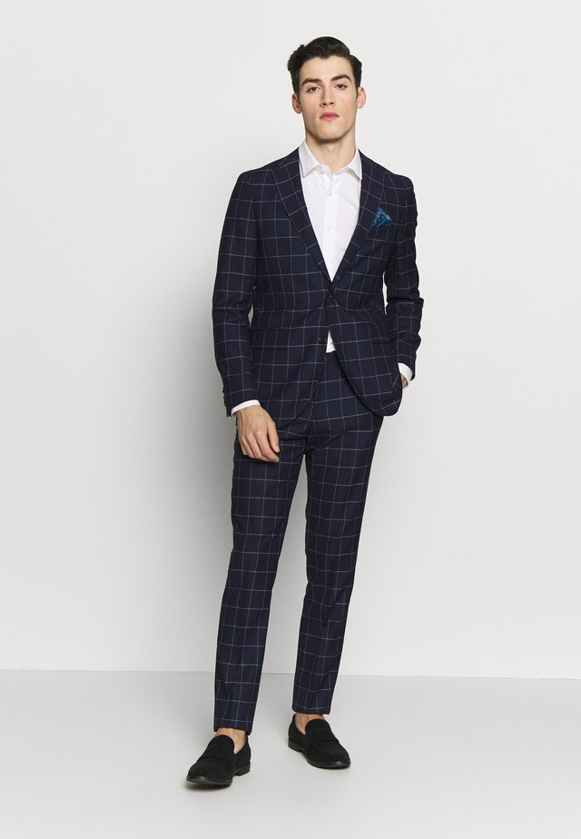 NAVY CHECK - Suit - dark navy