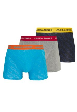 JACEMBOSSED LOGO TRUNKS 3 PACK - Underkläder - black/hawaiian ocean/light grey