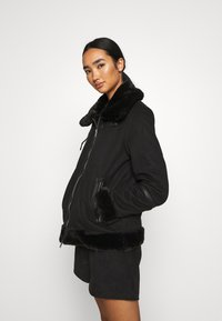 ONLY - ONLJANICE BONDED AVIATOR  - Faux leather jacket - black - 4