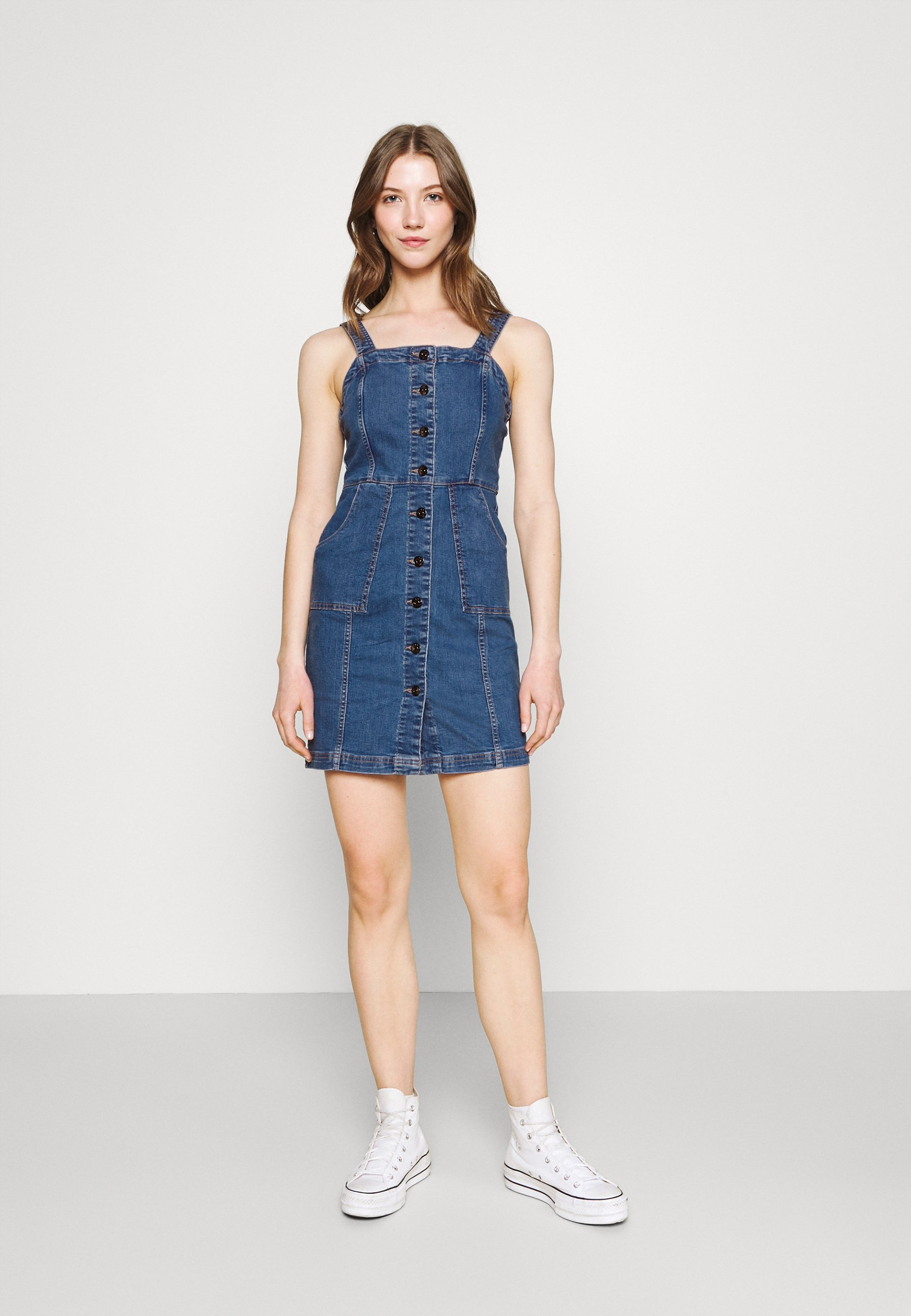 Women ONLSERENA STRAP DRESS - Denim dress