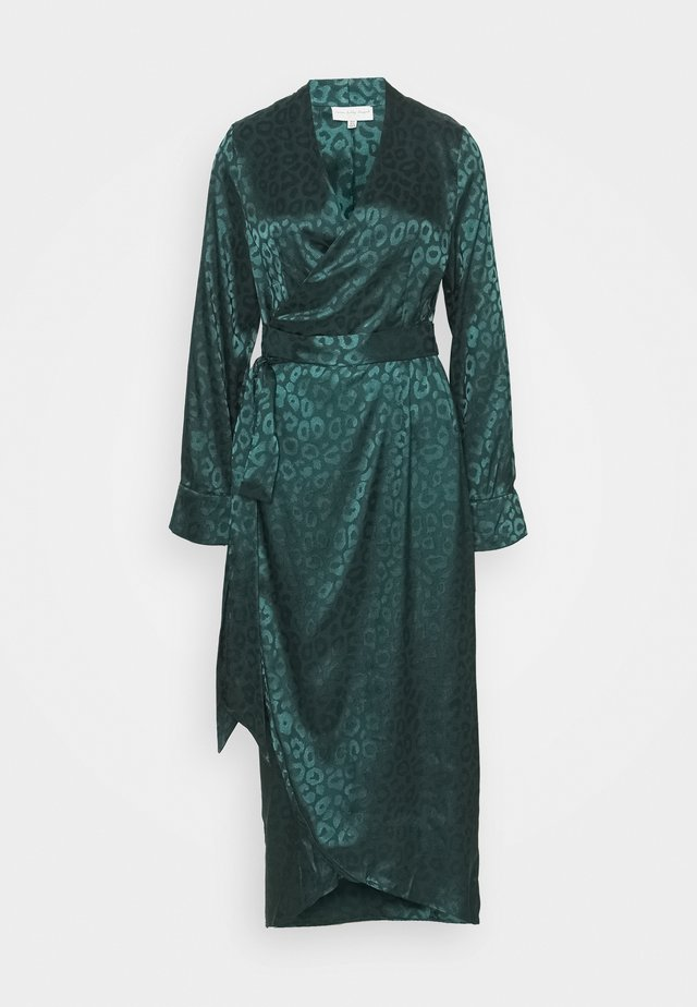 LEOPARD LONGSLEEVE WRAP DRESS - Maxi dress - emerald