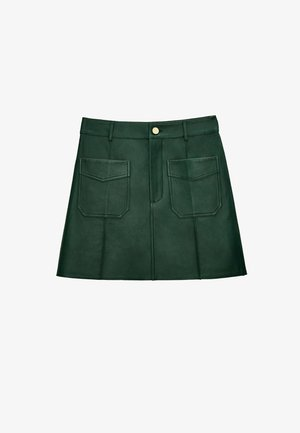 MIT KNÖPFEN - Leather skirt - green