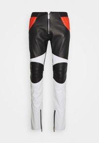 PANTALONE - Leather trousers - black/white