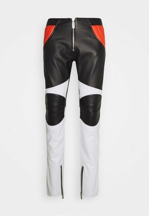 PANTALONE - Leather trousers - black/white