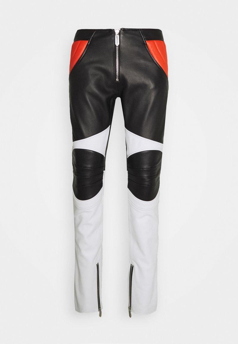 Just Cavalli - PANTALONE - Leather trousers - black/white