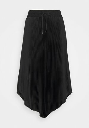 PLEATED SCOOP HEM SKIRT - Plisséskjørt - black