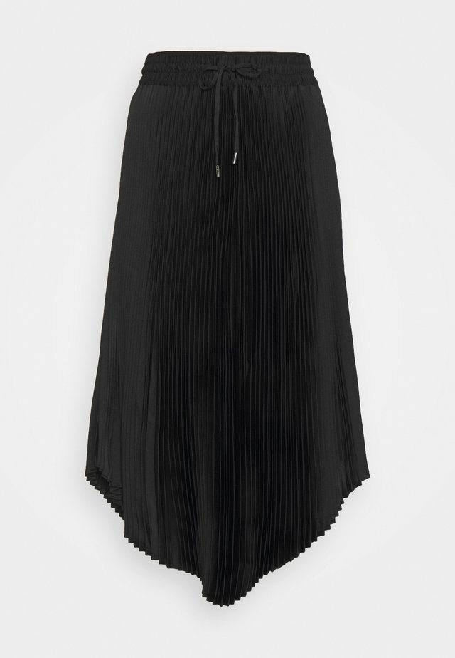 PLEATED SCOOP HEM SKIRT - Gonna a pieghe - black