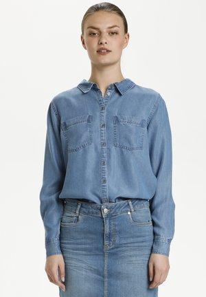 Button-down blouse - light blue vintage wash