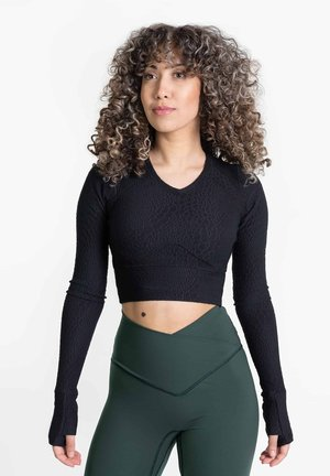 ELIXER CONCEAL - CROP - THUMBHOLE - Long sleeved top - black beauty